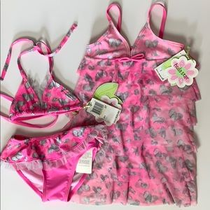 NWT Hula Star 3pc Swim Suit, Bikini & Cover Up 2T